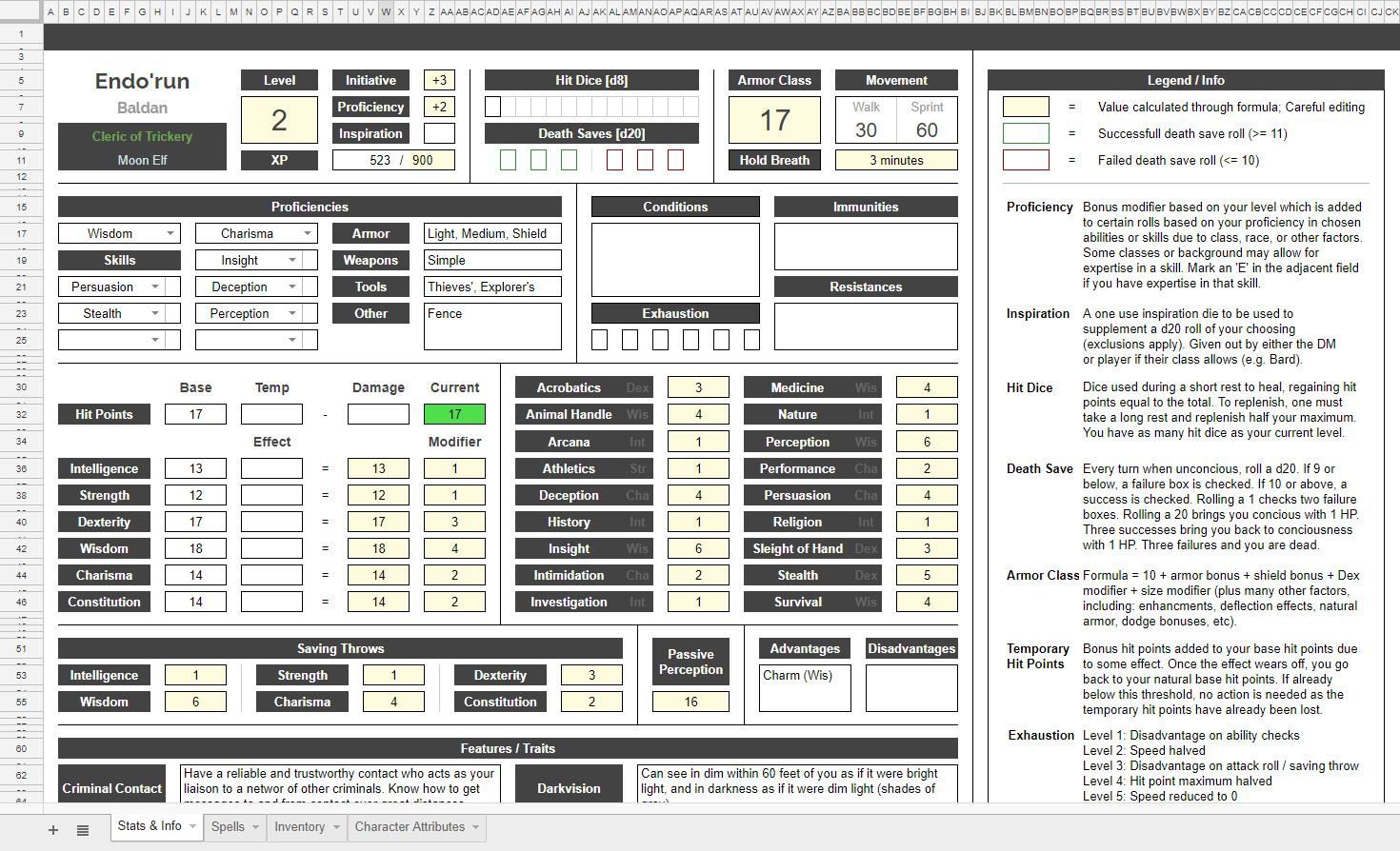 D&D 5e Character Sheet – Lars Goding